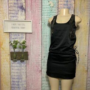 Gracia Fashion Beaded Tie Waist Tank Black Dress